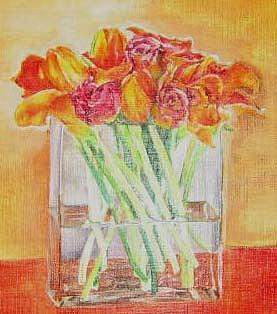 Red Painting - Roses In Glass Vase by Maria Tepper