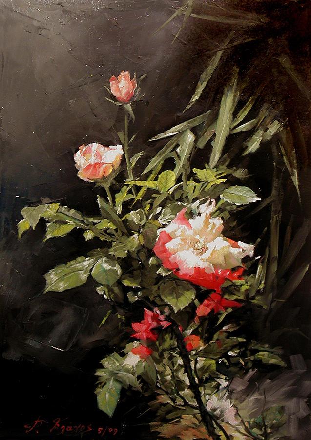 Roses Painting - Roses In My Garden by Demetrios Vlachos