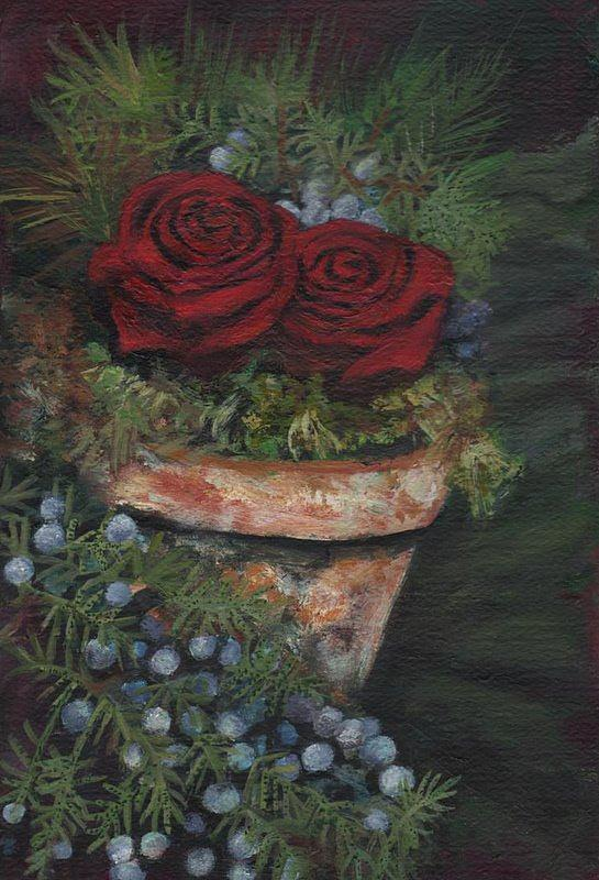 Roses Greeting Card - Roses In Old Pot by Rebecca  Both
