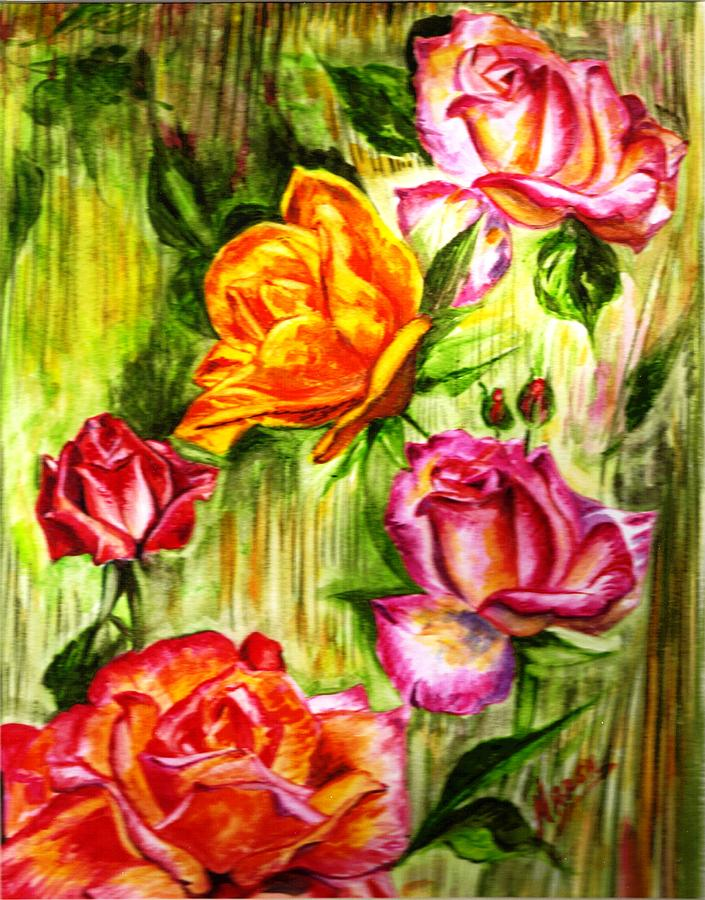Landscape Painting - Roses In The Valley  by Harsh Malik