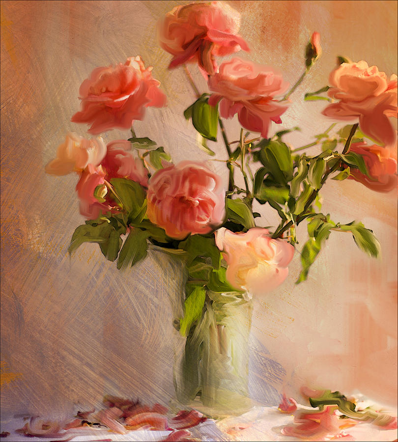 Pink Roses Photograph - Roses La Belle by Linde Townsend