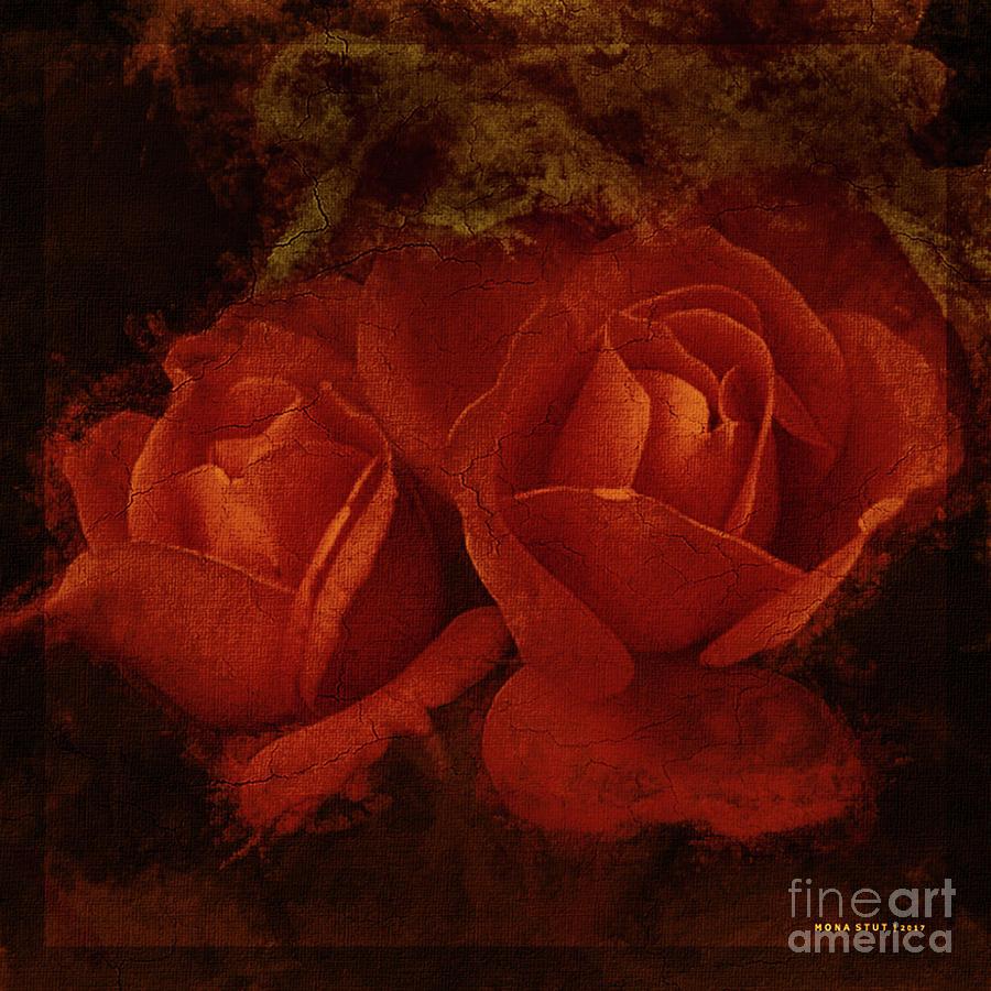 Roses Fall Orange Red Mixed Media