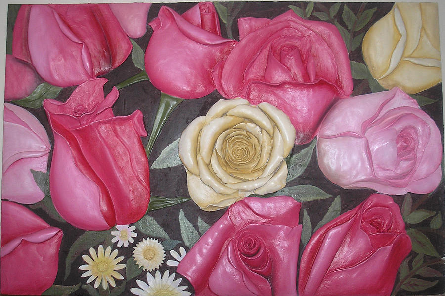 Relief Work Relief - Roses Wall Mural by Prity Jain