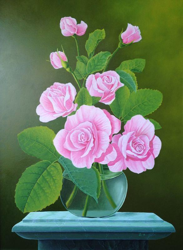 Flowers Painting - Roses by Zdzislaw Dudek