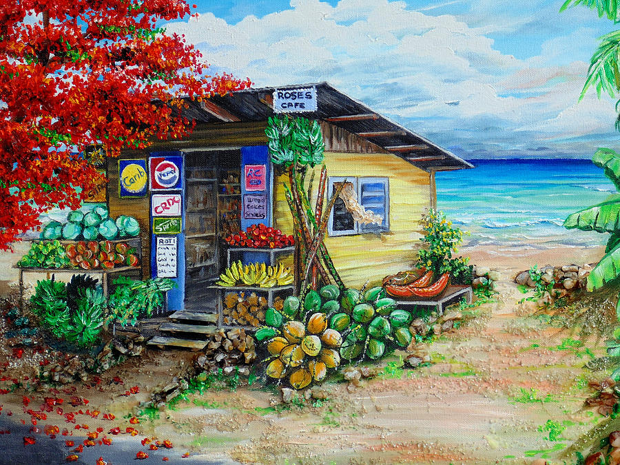 Seaside Painting - Rosies Beach Cafe by Karin  Dawn Kelshall- Best
