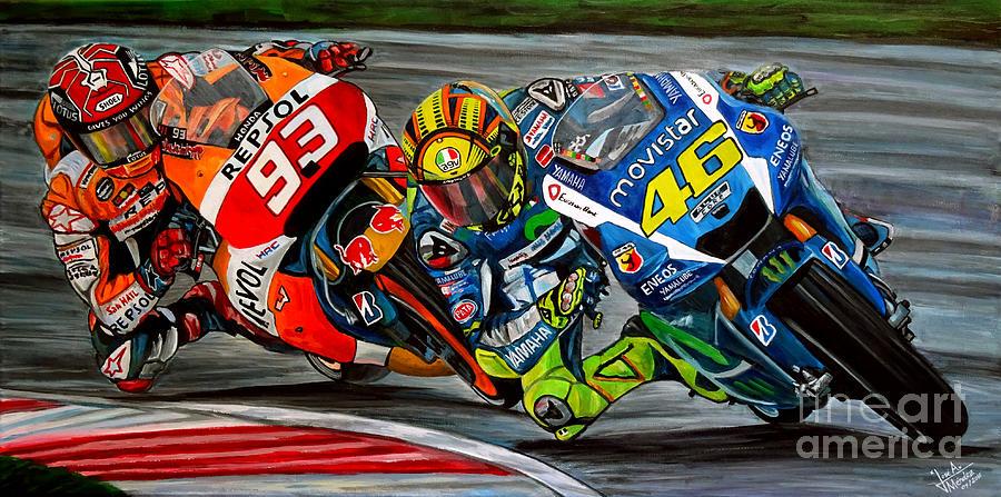 Valentino Rossi Painting - Rossi vs Marquez by Jose Mendez