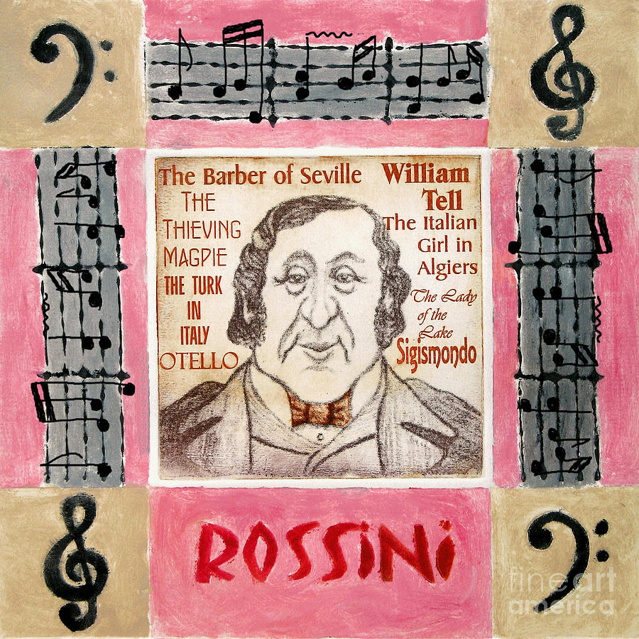 Rossini Mixed Media - Rossini Portrait by Paul Helm