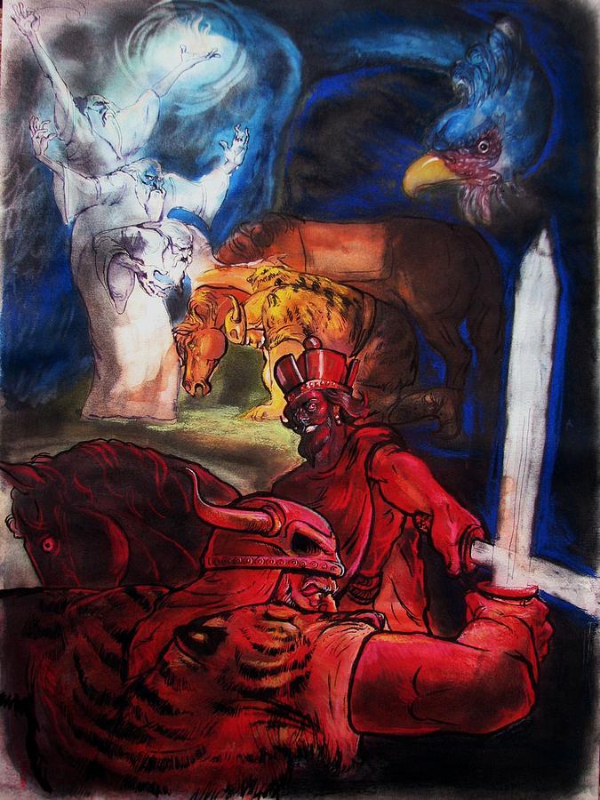 Man Painting - Rostam And Esfandiyar by Mehrdad Sedghi