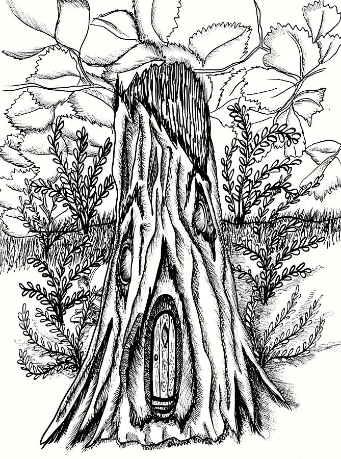 Rotten stump fairy doors and gingko leaves drawing by dawn for White fairy door