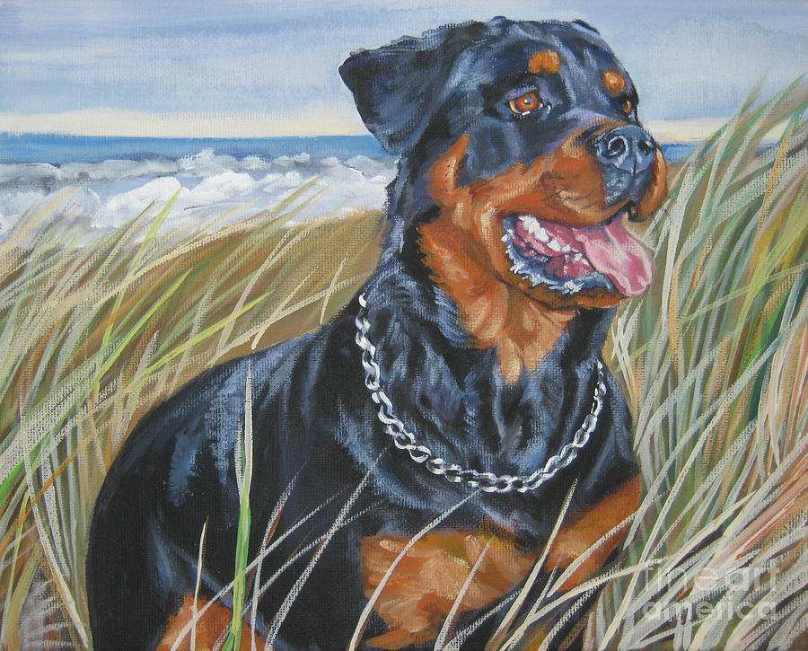 Dog Painting - Rottweiler Beach by Lee Ann Shepard