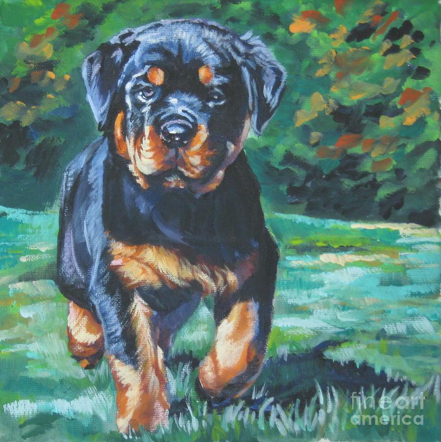 Rottweiler Painting - Rottweiler Pup by Lee Ann Shepard