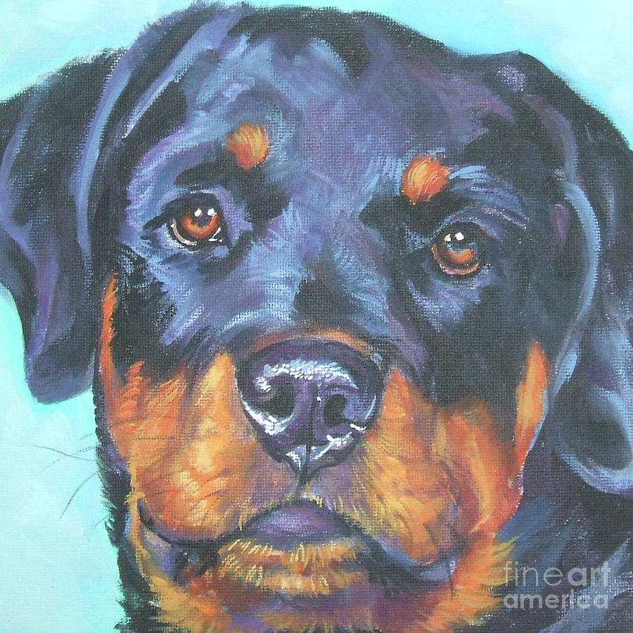 Dog Portrait Painting - Rottweiler Teen Doggie by Lee Ann Shepard