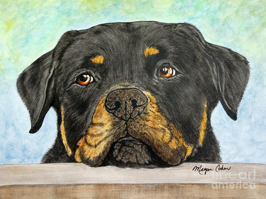 Rottweiler Painting - Rottweilers Sweet Face 2 by Megan Cohen
