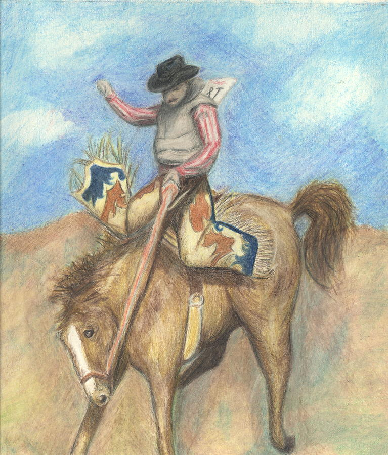 Rodeo Drawing - Rough Rider by Jennifer Skalecke