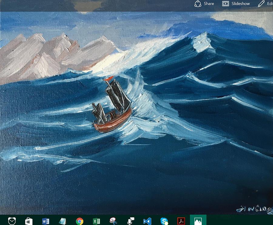 Landscape Painting - Rough sailing by Ramya Sundararajan