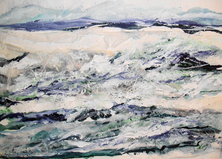 Water Painting - Rough Sea by Linda King