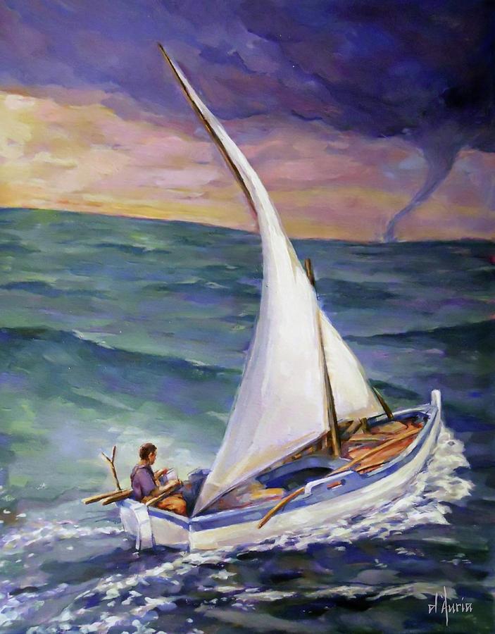 Sail Boats Painting - Rough Seas Ahead by Tom Dauria