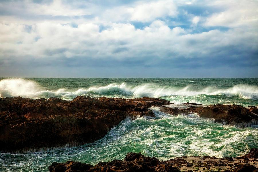 Oregon Photograph - Rough Seas by Andrew Soundarajan
