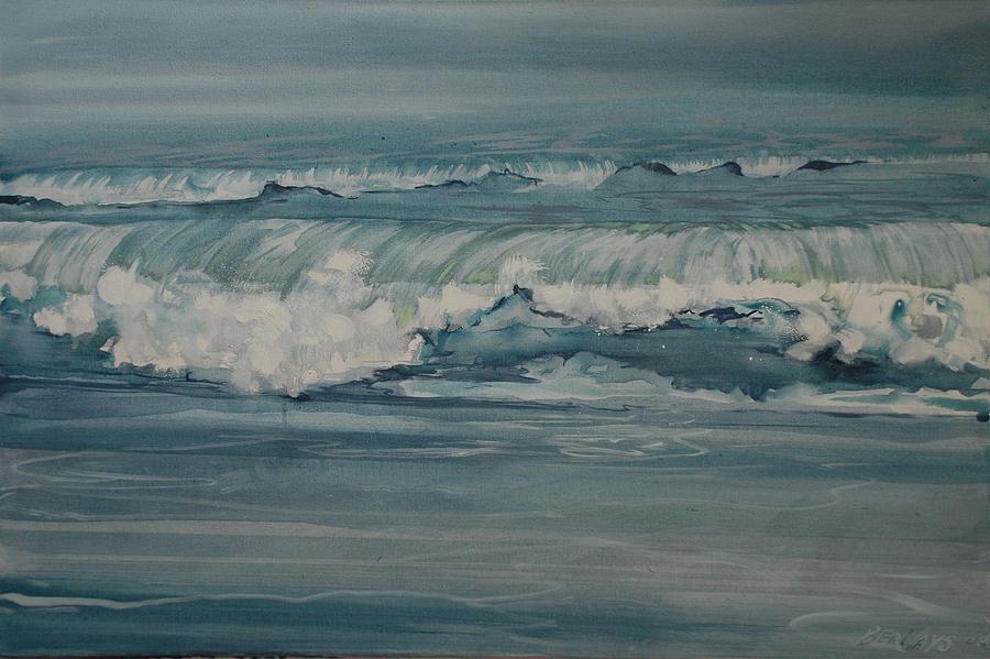Blue Landscape Sea Seascape Waves Wave Paint Painting - Rough Surf by Amy Bernays