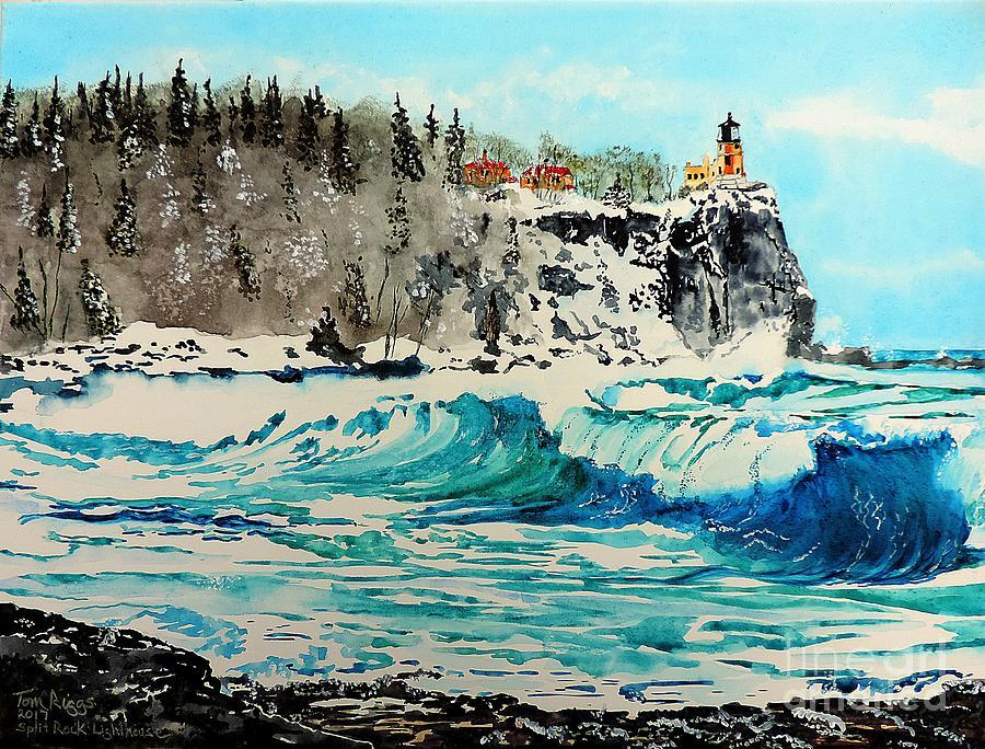 Split Rock Painting - Rough Water at Split Rock by Tom Riggs