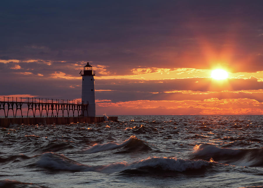 Rough Water Sunset by Fran Riley