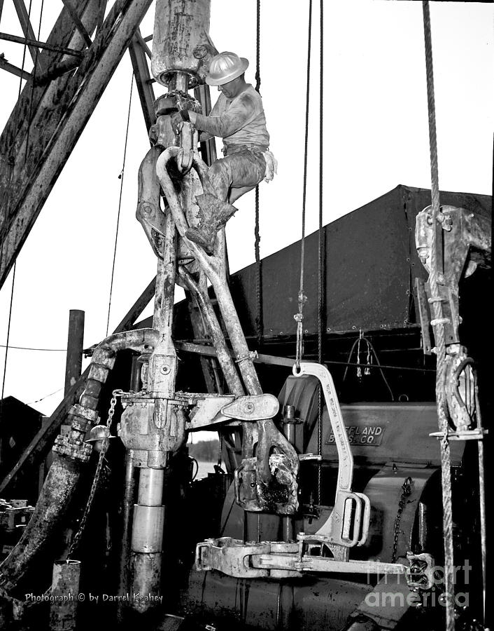 Oil Field Photograph - Roughnecks by Larry Keahey