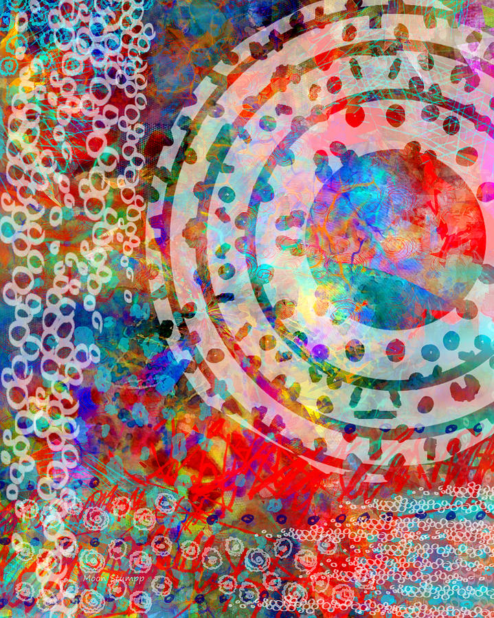 Abstract Digital Art - Round And Round by Moon Stumpp