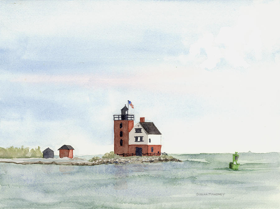 Lighthouse Painting - Round Island Lighthouse by Susan Mahoney