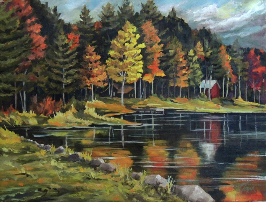 Round Pond Newbury Vermont Plein Air by Nancy Griswold