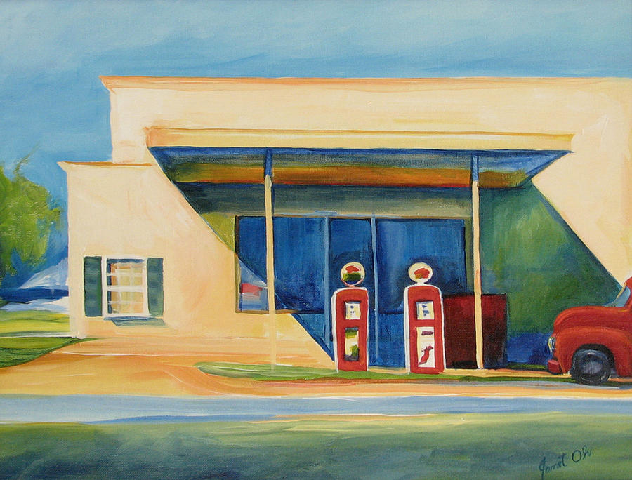 Round Rock Painting - Round Rock Gas Station by Janet Oh