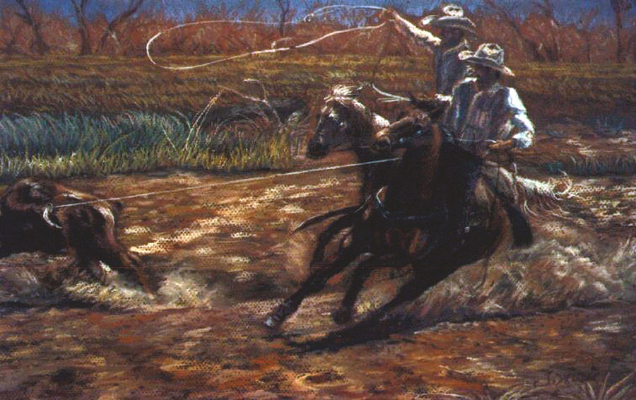 Roping Pastel - Round Up by Tommy  Winn