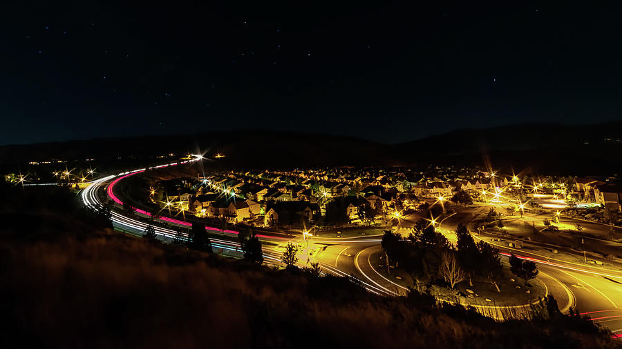 Roundabout Number Two, Village At Somersett, Reno, Nevada On A Summer Night With Light Trails Photograph