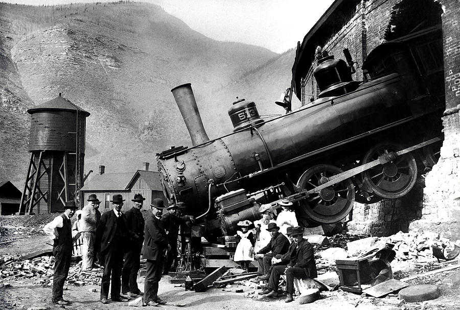 Roundhouse Locomotive Crash - Minturn - 1913 by War Is Hell Store