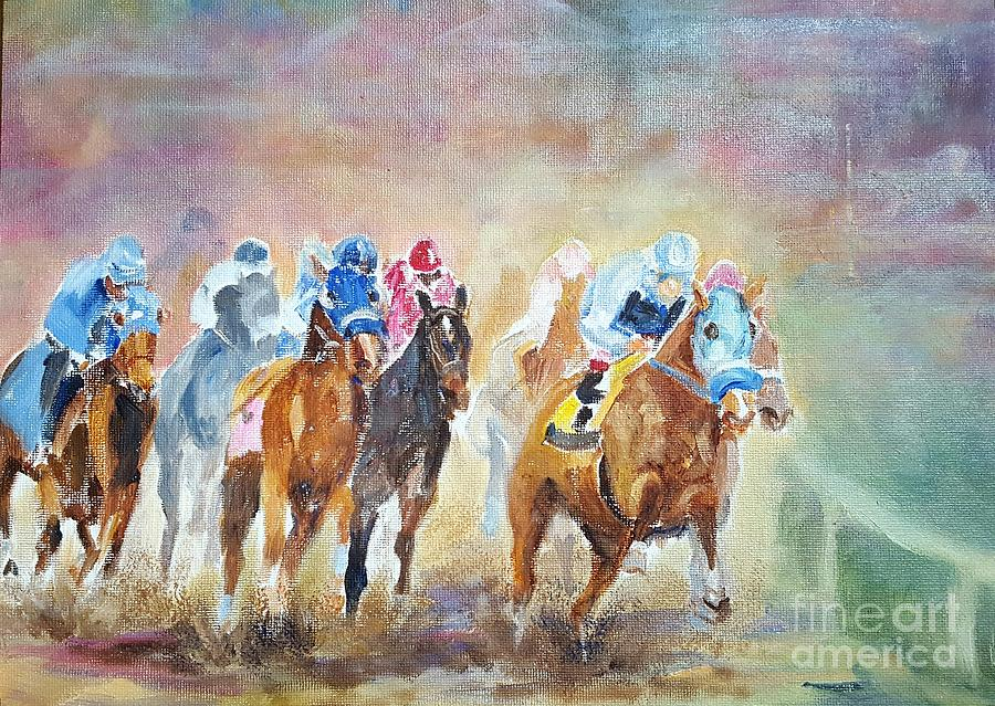 Horses Painting - Rounding The Bend by Dorothy Weichenthal