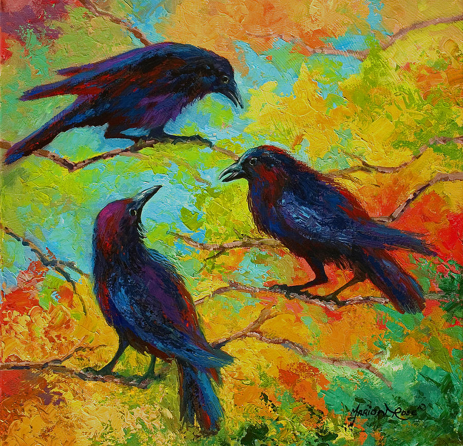 Crows Painting - Roundtable Discussion - Crows by Marion Rose