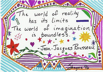 Whimsical Drawing - Rousseau Doodle Quote by Susan Schanerman