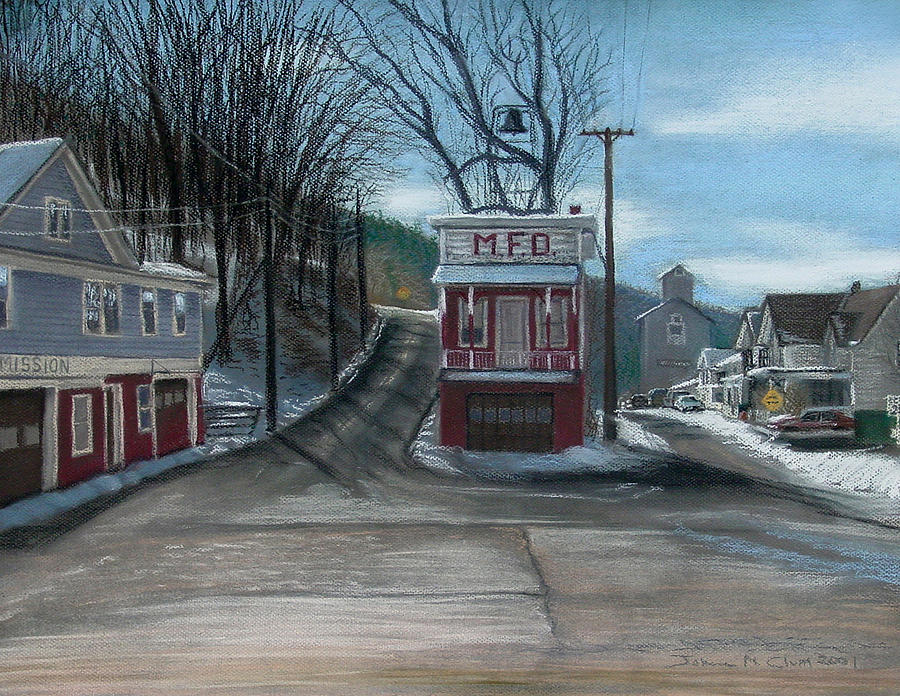 Firehouse Painting - Route 6 Meshoppen Pa by John Clum