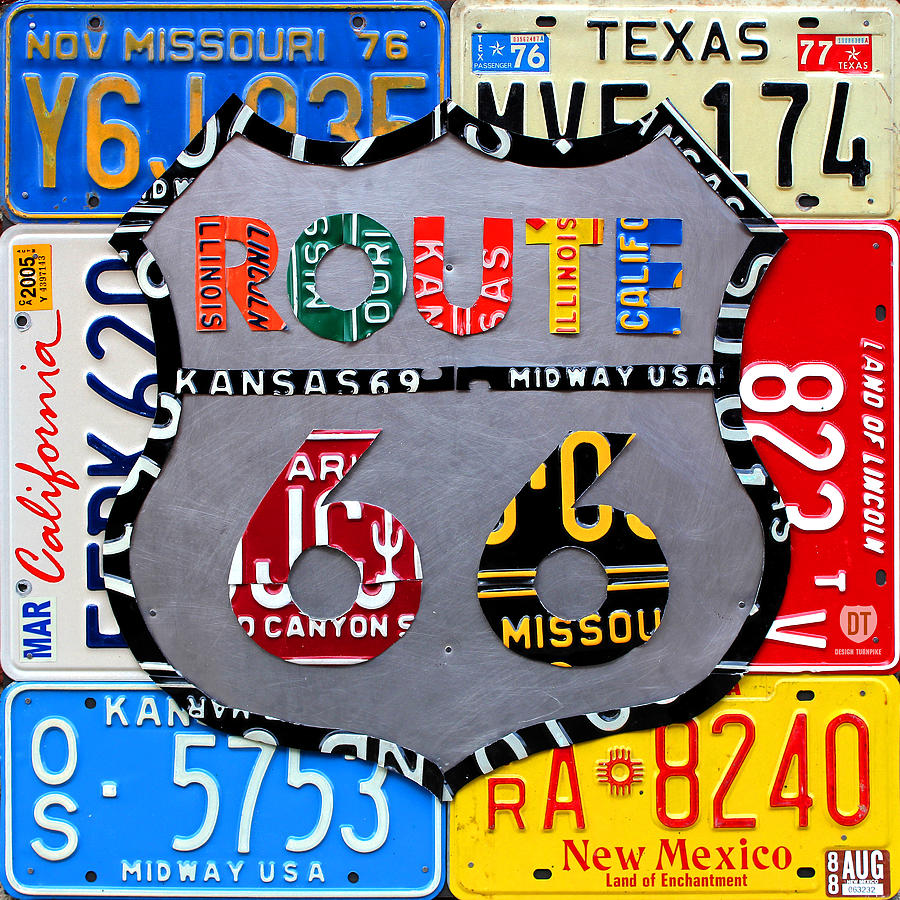 Route 66 Highway Road Sign License Plate Art Travel License Plate Map Mixed Media - Route 66 Highway Road Sign License Plate Art by Design Turnpike