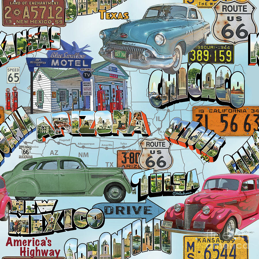 Route 66 Painting - Route 66-jp3938 by Jean Plout