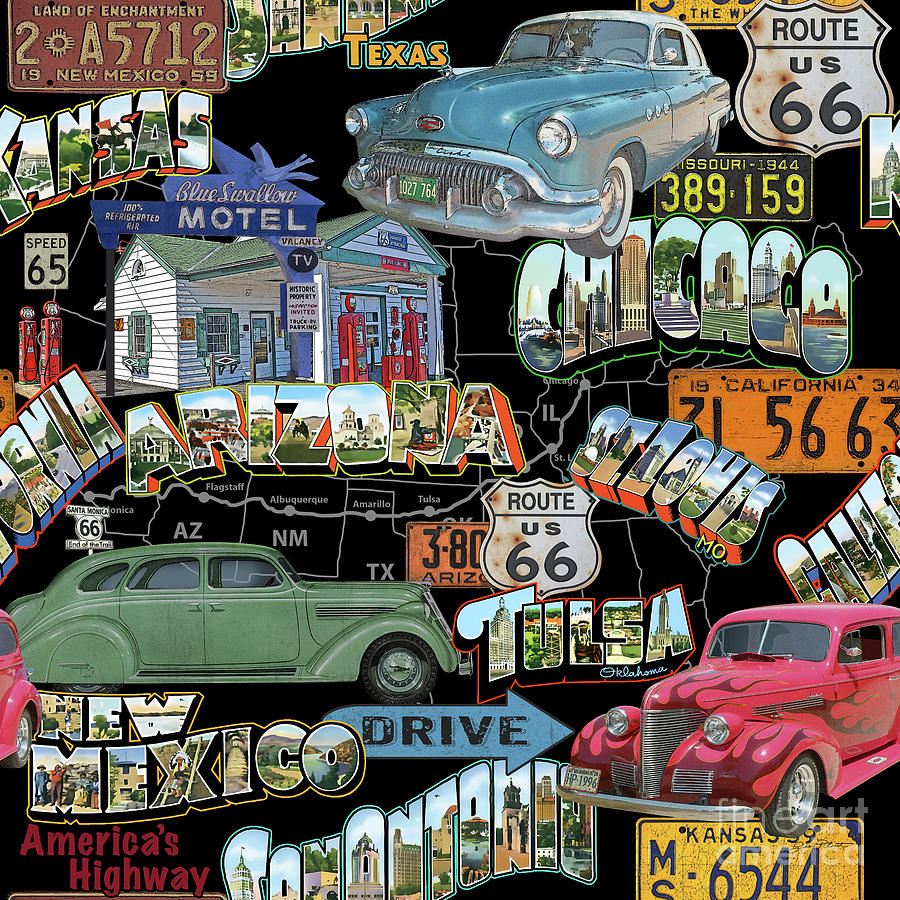 Route 66 Painting - Route 66-jp3939 by Jean Plout