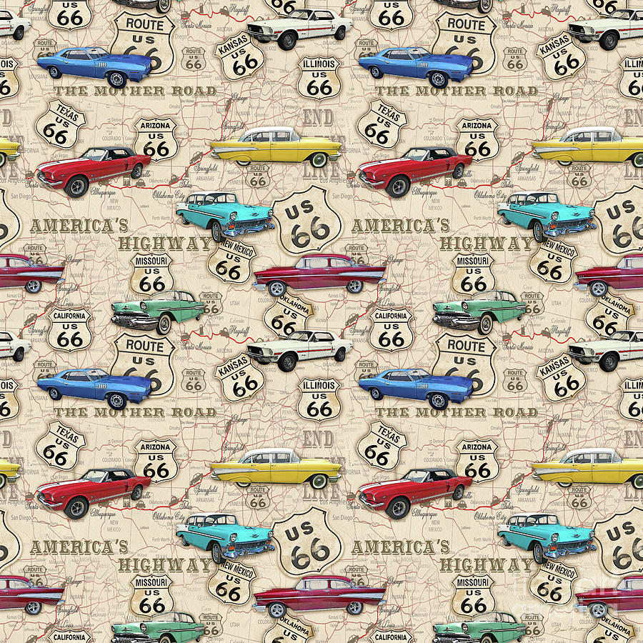 Map Of California Route 66.Route 66 Muscle Car Map Jp3961 B