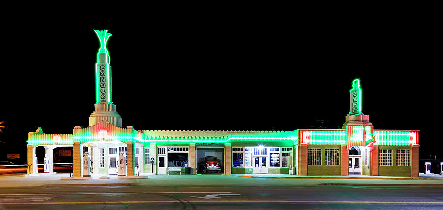 Route 66 Photograph - Route 66 Tower Conoco And Cafe by Stephen Stookey