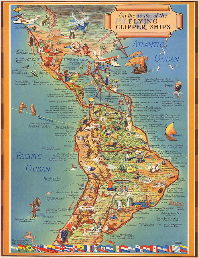 Routes Of The Flying Clipper Ships - Pan American Airways - Vintage Pictorial Map Mixed Media
