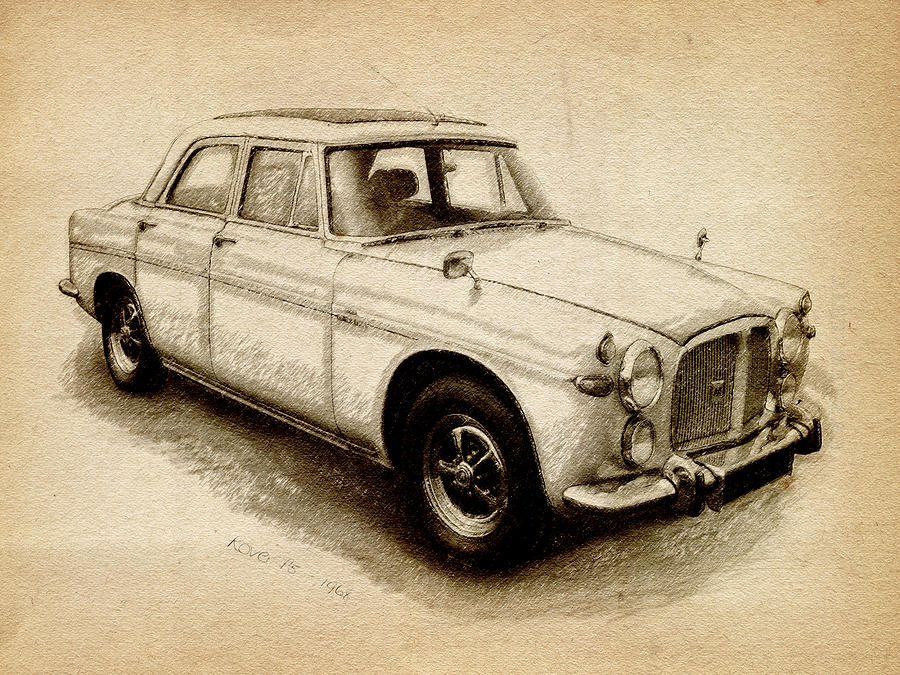 Rover P5 Drawing - Rover P5 1968 by Michael Tompsett