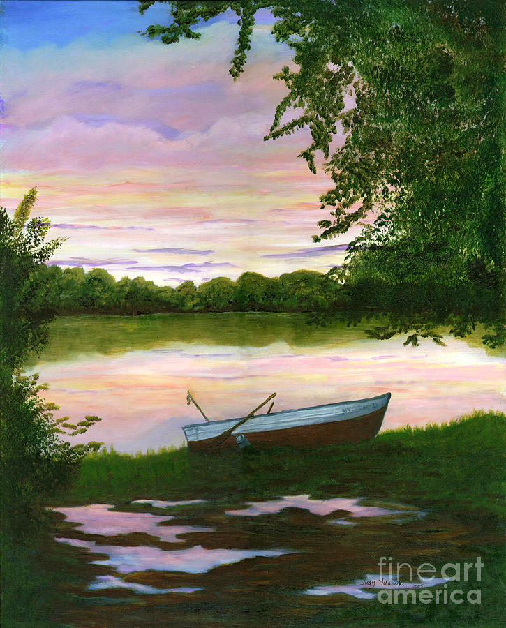 Sunset Painting - Row Boat Painting by Judy Filarecki