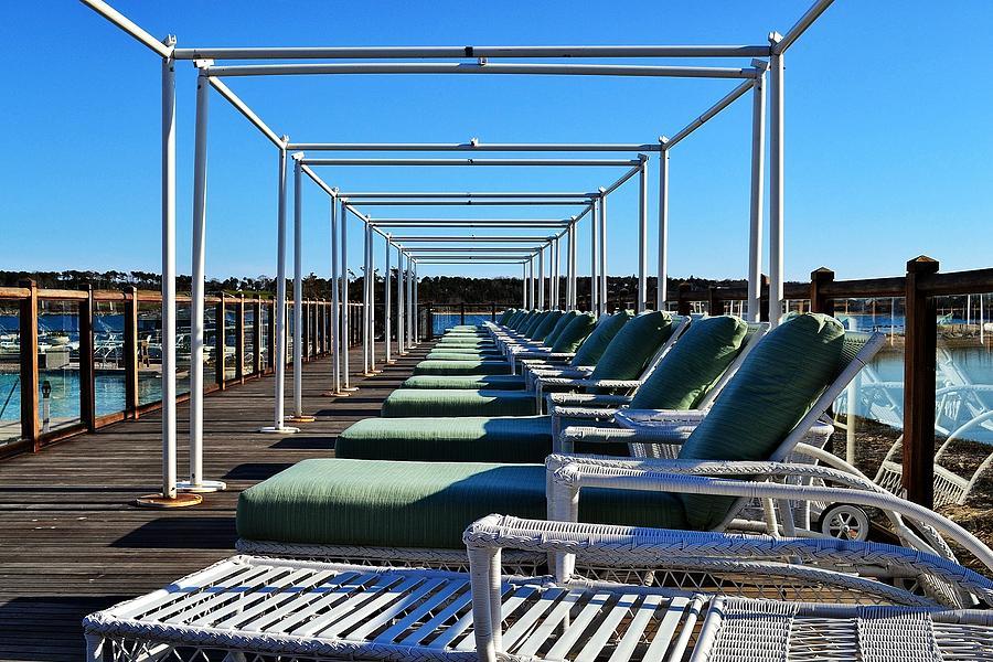 Beach Chairs Photograph - Row Of Beach Chairs by Alex Schindel