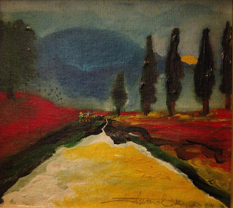 Rows Of Trees Painting - Row of Cypress by Edward Longo