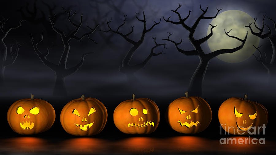 Row Of Halloween Pumpkins In A Spooky Forest At Night Digital Art