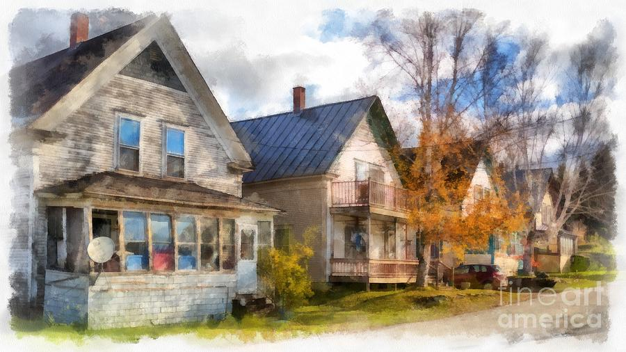 Row Of Houses Hardwick Vermont Watercolor Photograph by Edward Fielding