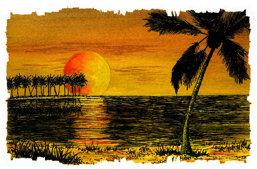 Row Of Palm Trees Painting By Michael Vigliotti